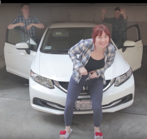 Joleen in front of Honda Civic from Damn, I'm a Ma'am!